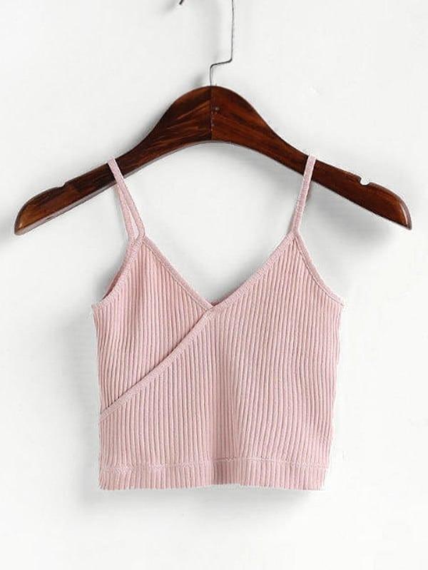 Surplice Crop Ribbed Cami Top vest180316202