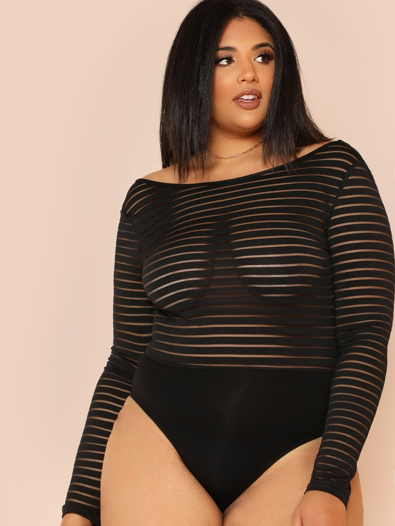 Scoop Back Striped Mesh Bodysuit tryp madrid centro ex tryp washington 3 мадрид