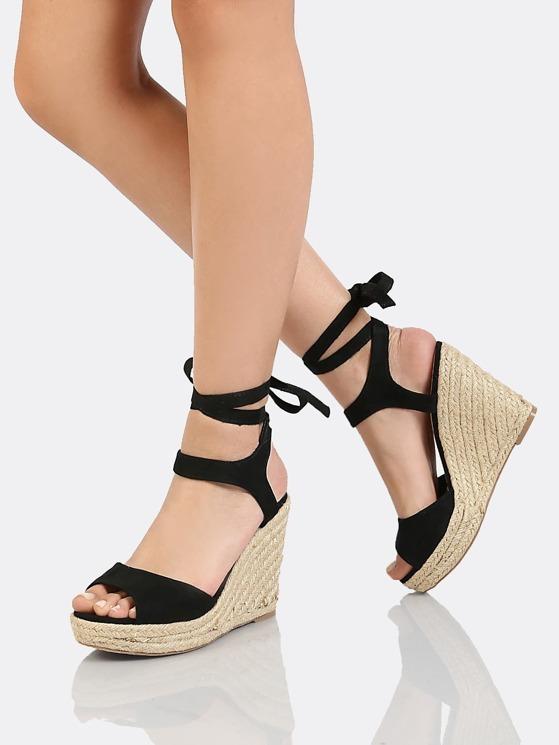 8929c273f4c3 Faux Suede Ankle Wrap Espadrille Platform Wedge Sandal BLACK ...