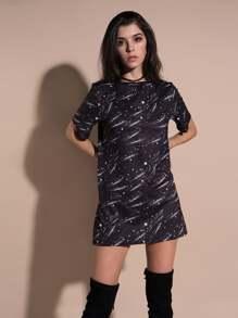 Galaxy Print Tee Dress
