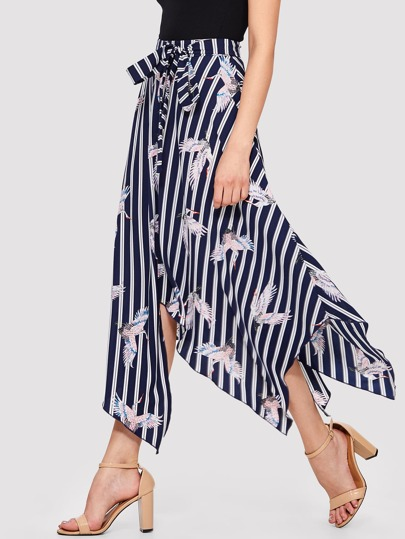 Stripe And Crane Print Asymmetrical Hem Skirt