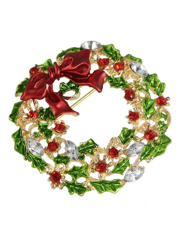 New Christmas Gift Colorful Rhinestone Flower Brooch