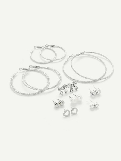 Bow & Mixed Hoop Design Earring Set