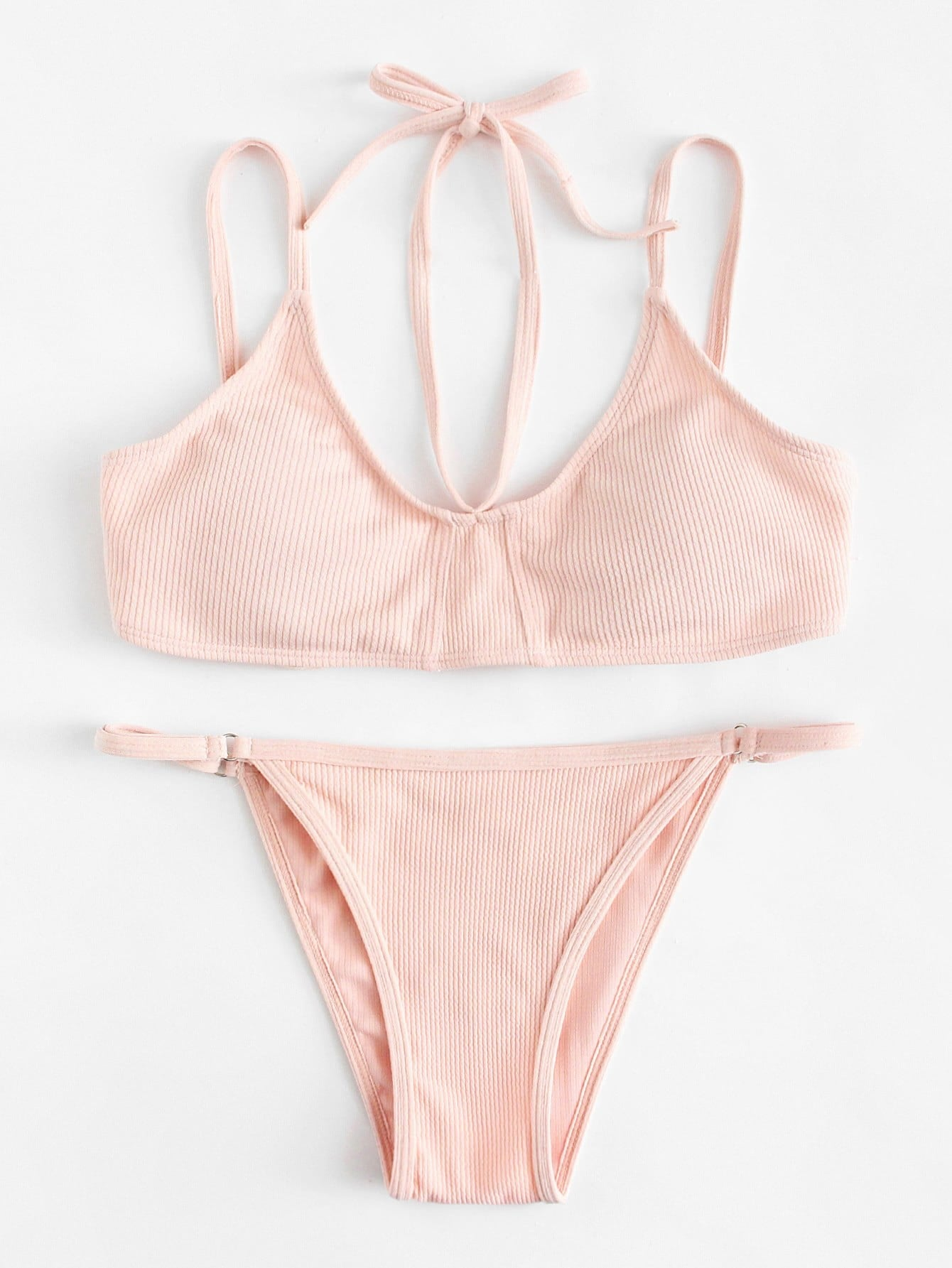 Halter Rib Bikini Set