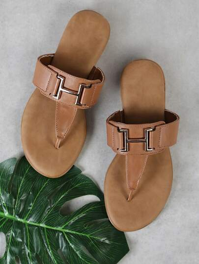 T-Strap Thong Sandal with Thick Buckle Strap TAN