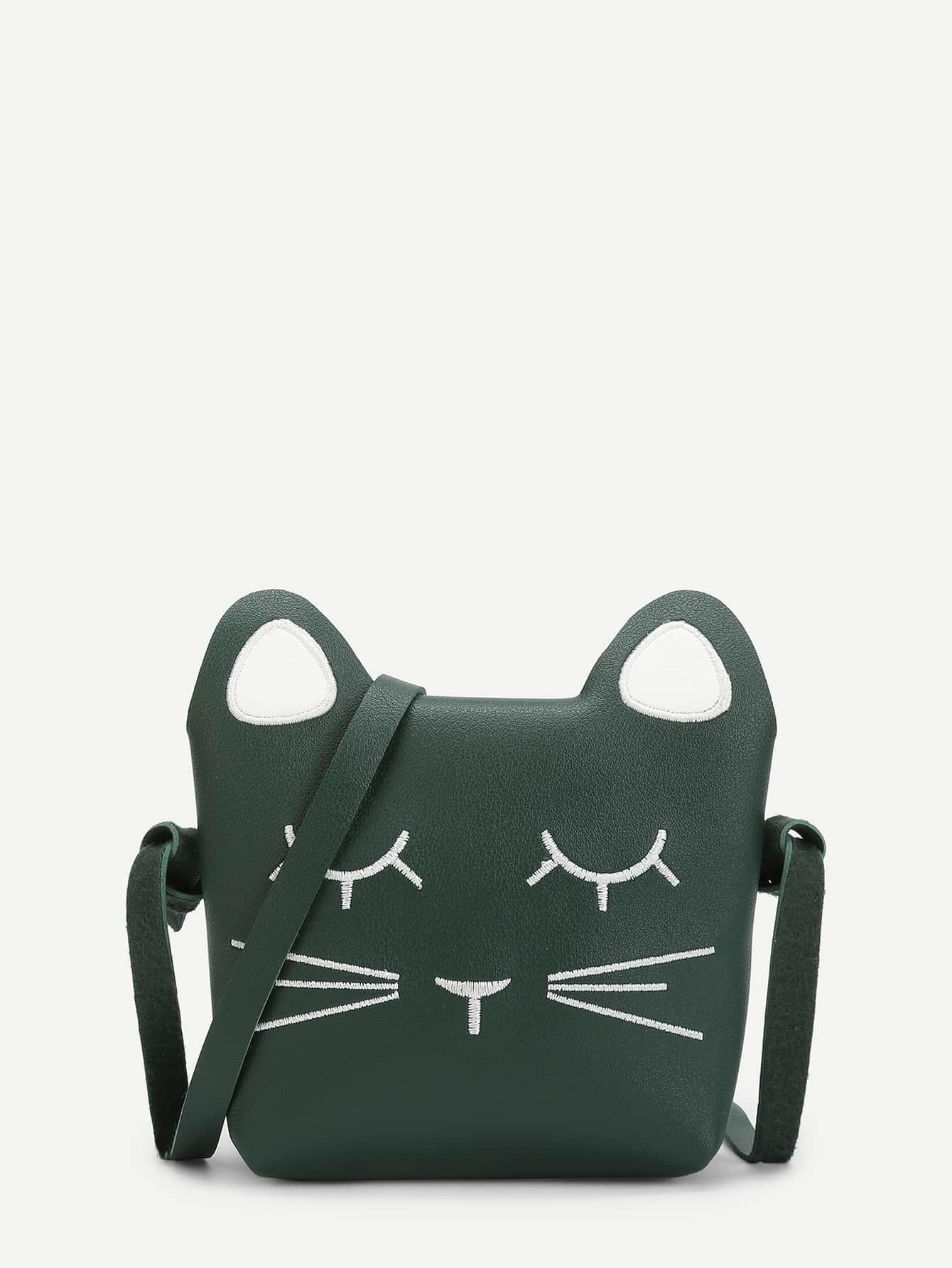 Cat Design Embroidered Detail Crossbody Bag