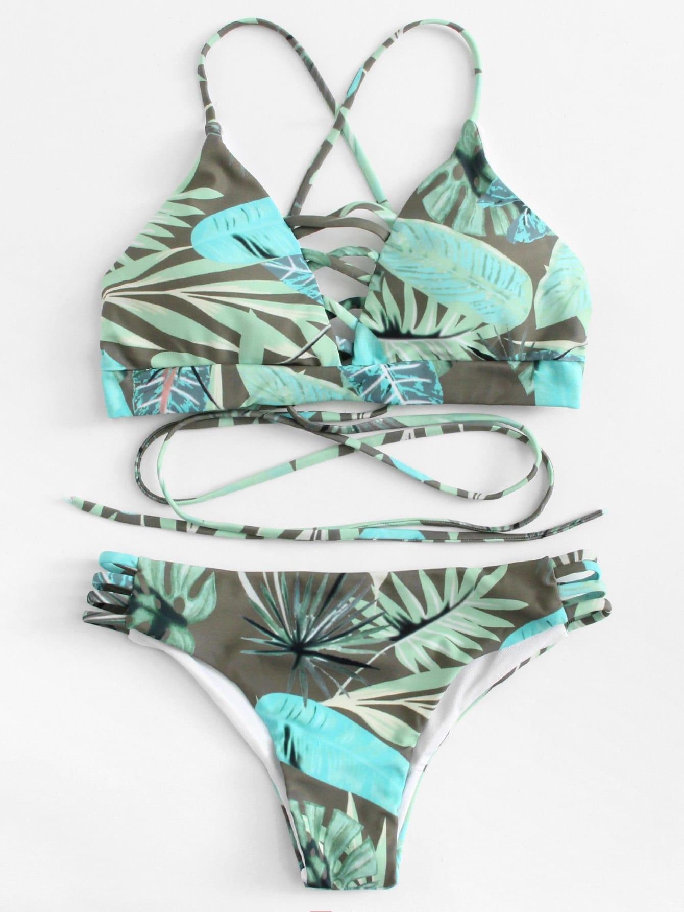 Ladder Cutout Tropical Print Bikini Set цена и фото
