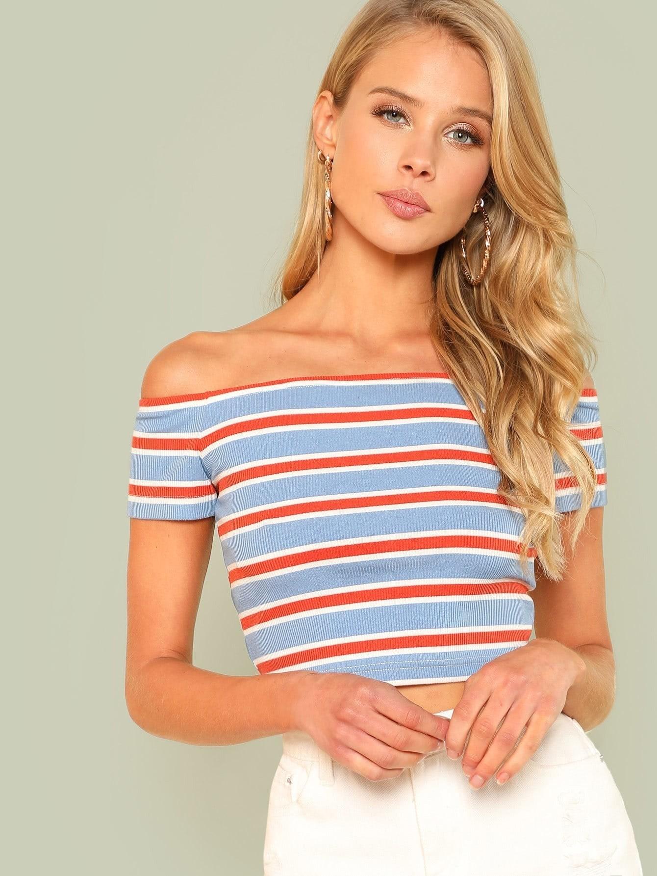 Rib Knit Striped Bardot Tee rib knit striped bardot top