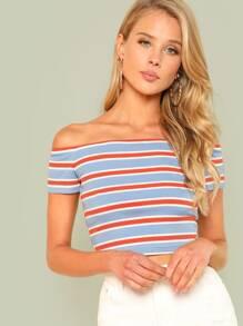 Rib Knit Striped Bardot Tee