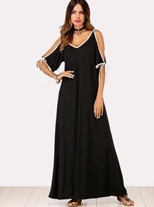 Contrast Trim Open Shoulder Dress