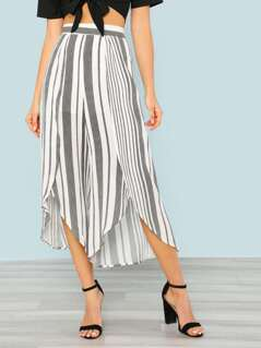 Stripe Print Open Leg Flowy Pants WHITE