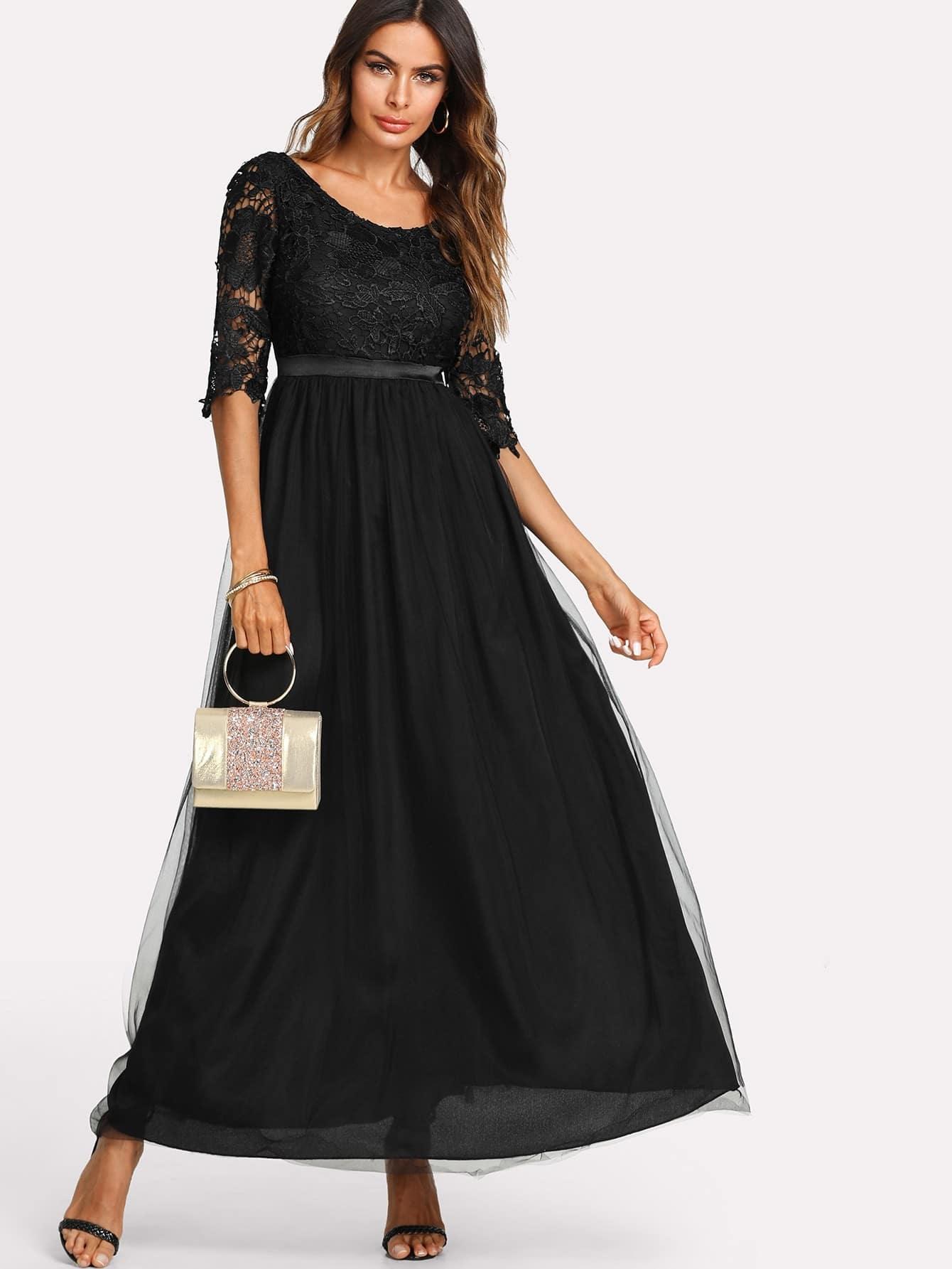 Lace Crochet Contrast Mesh Dress mesh contrast lace top
