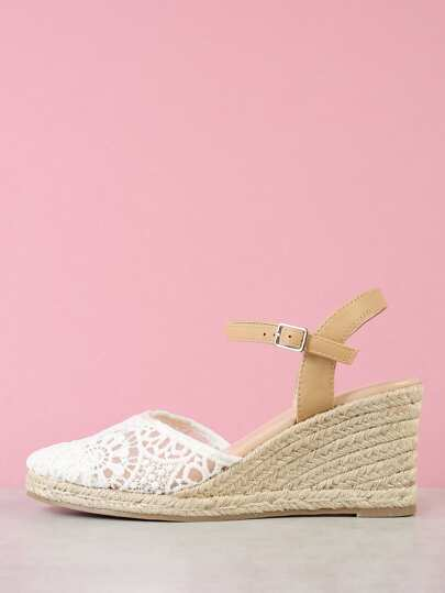 Lace Closed Toe Espadrille Platform Wedge Sandal WHITE NATURAL