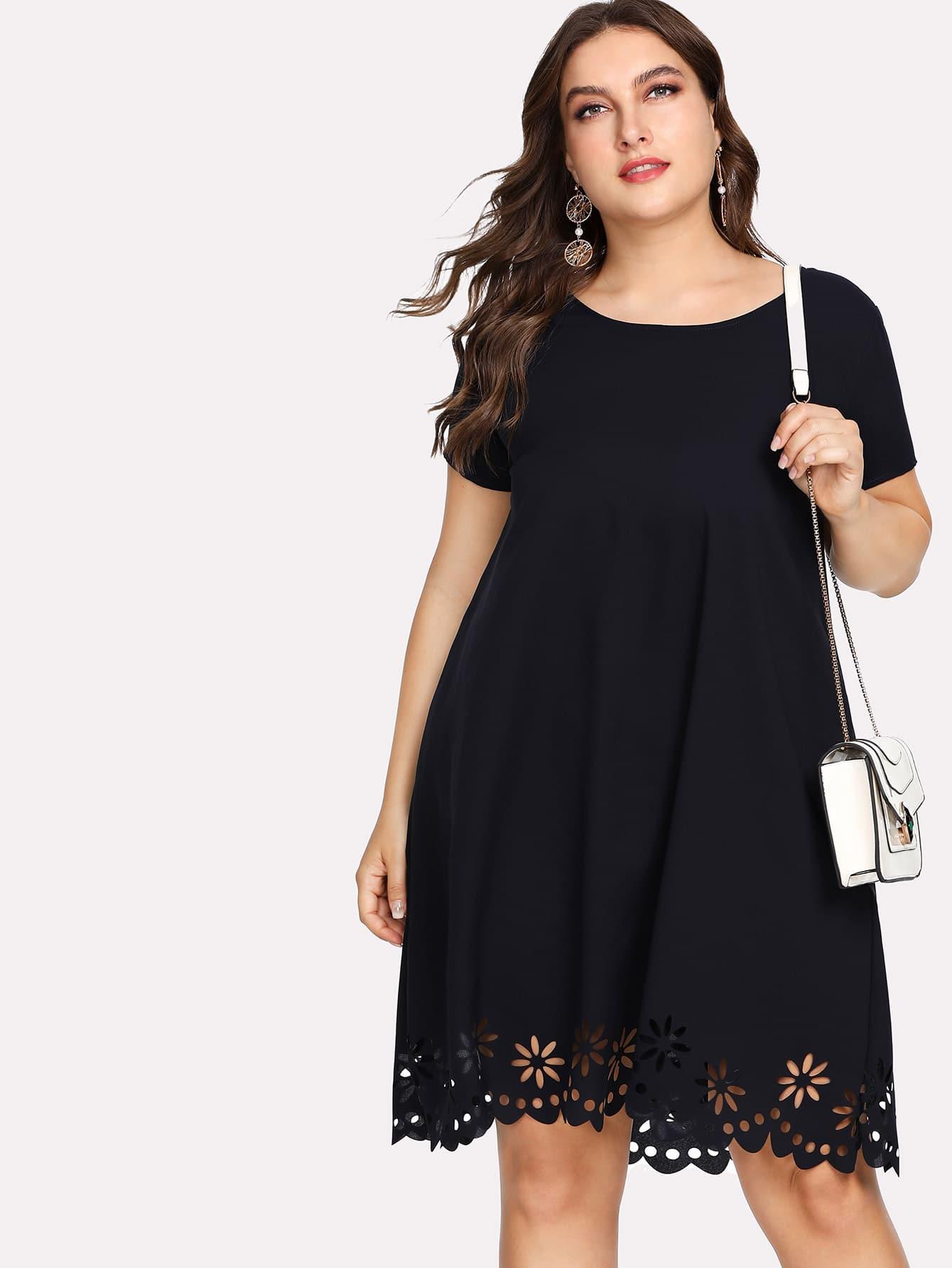 Купить Модное платье с узором и фестонами, Franziska, SheIn