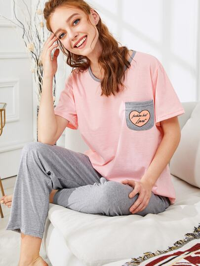 Pocket Patched Tee & Pants PJ Set