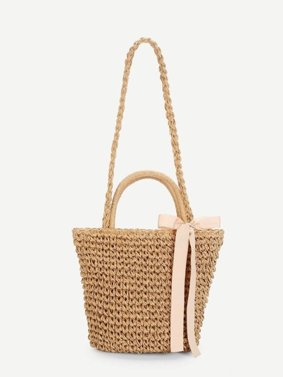 Bow Decorated Straw Crossbody Bag