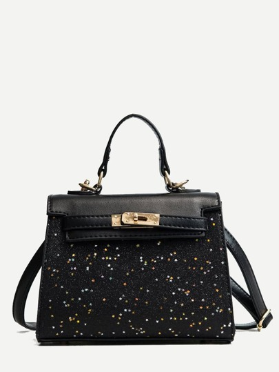 Borsa Twist Lock Glitter Grab