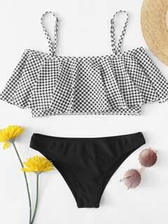 Gingham Off The Shoulder Flounce Top Bikini Set