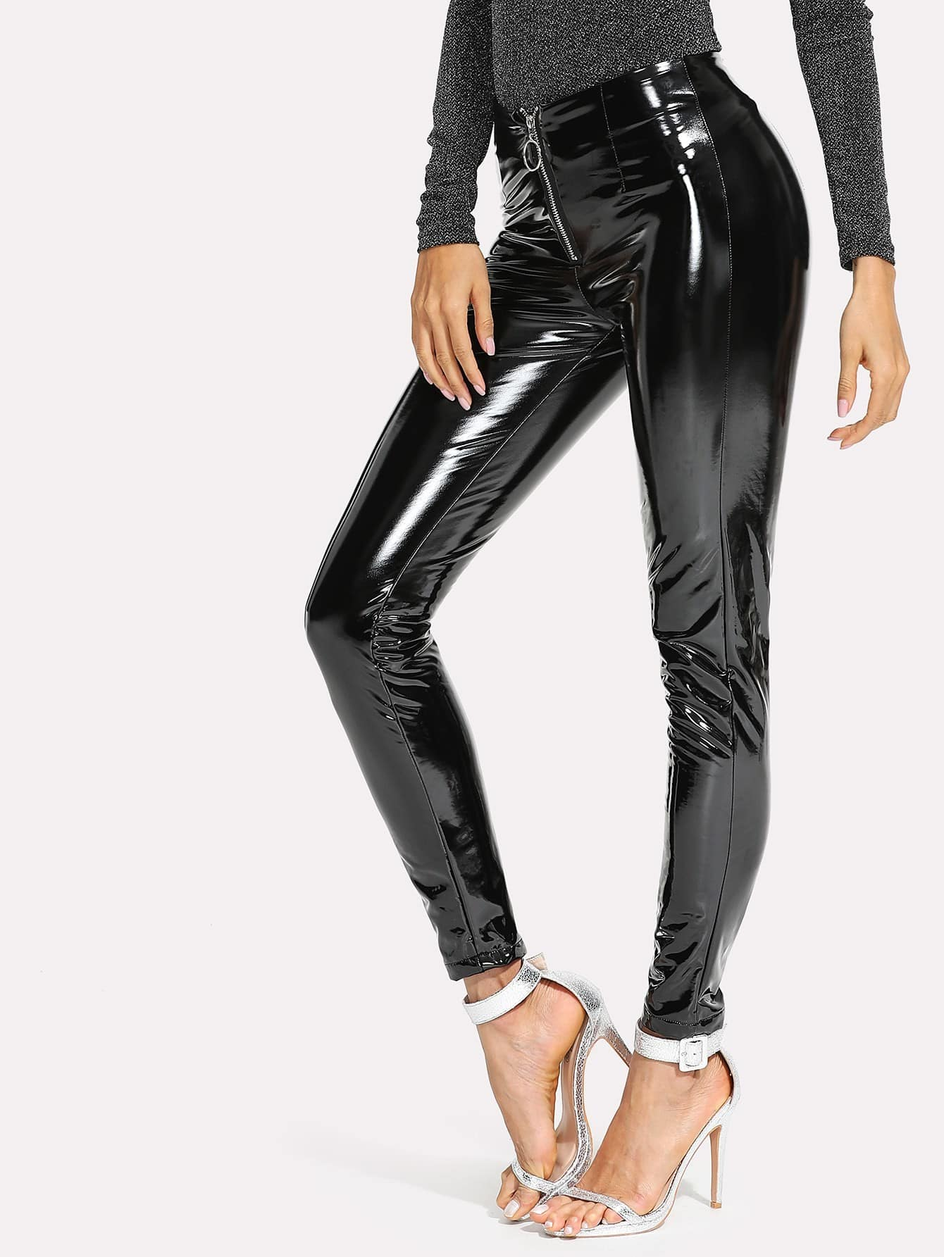 Zip Front Patent Leather Pants