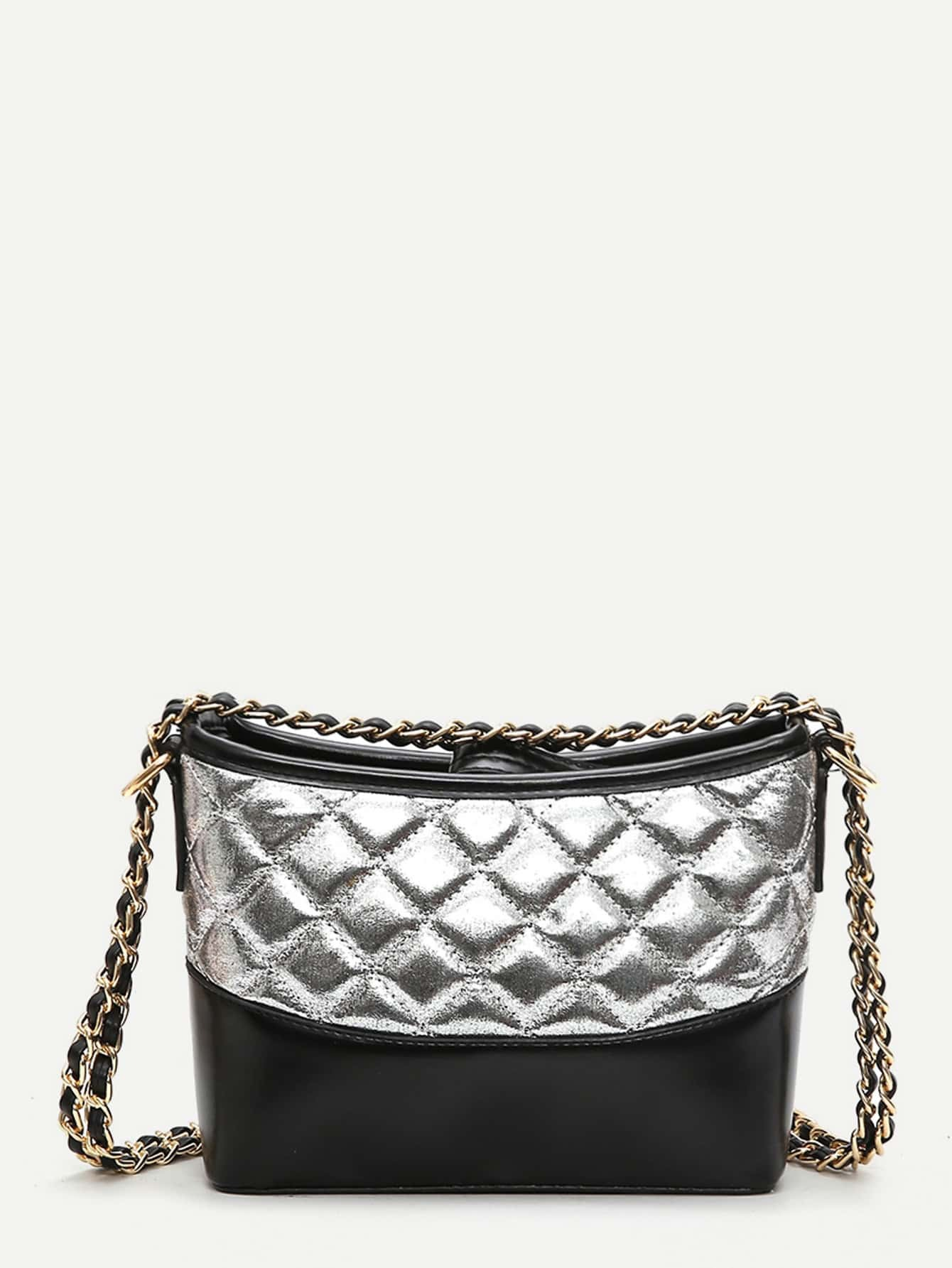 Two Tone Quilted Chain Bag two tone drop shoulder sweatshirt