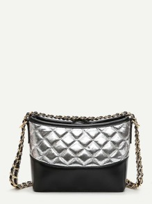 Two Tone Quilted Chain Bag