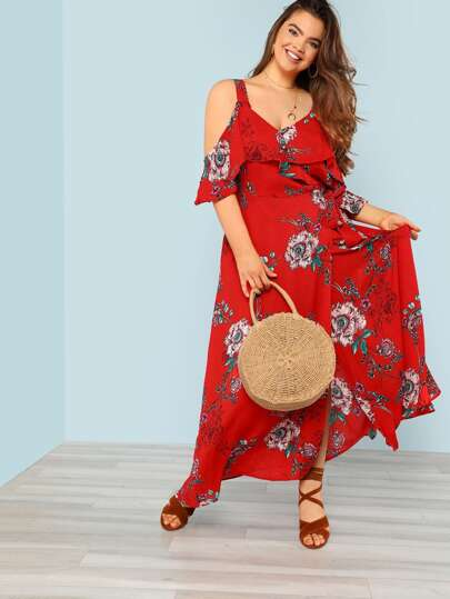 Cold Shoulder Flower Print Surplice Wrap Dress with Petal Sleeves RED