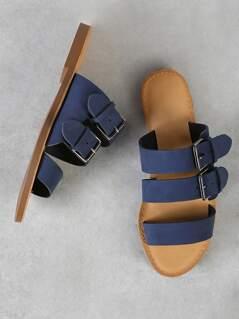 Three Band Buckled Slide Sandal NAVY BLUE