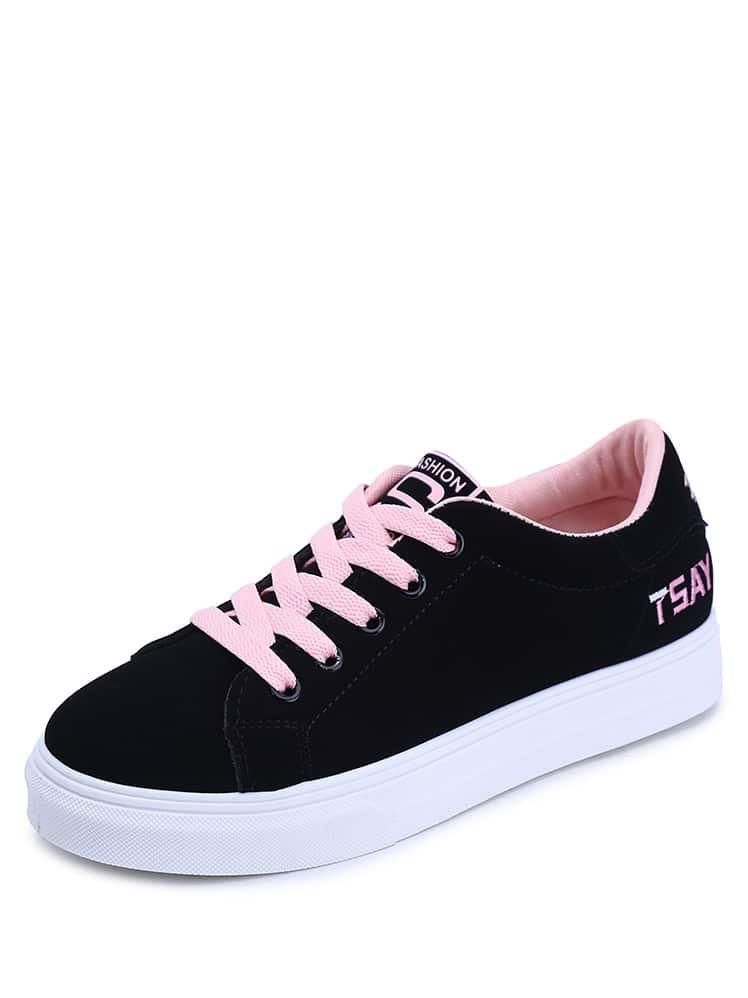 Lace Up Letter Embroidery Sneakers