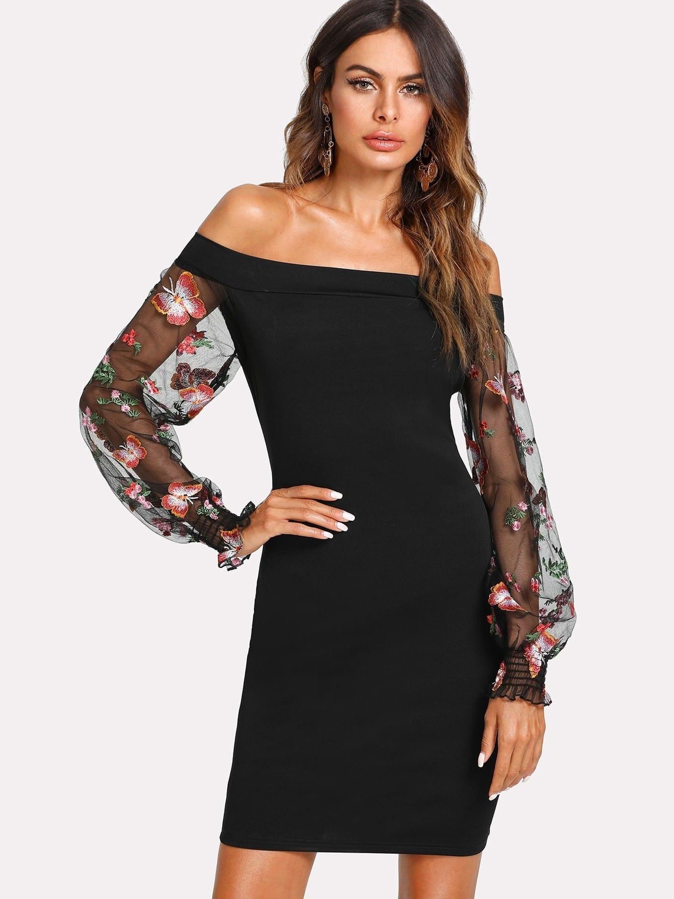 Embroidered Mesh Sleeve Bardot Dress bardot pencil dress with embroidered mesh sleeve