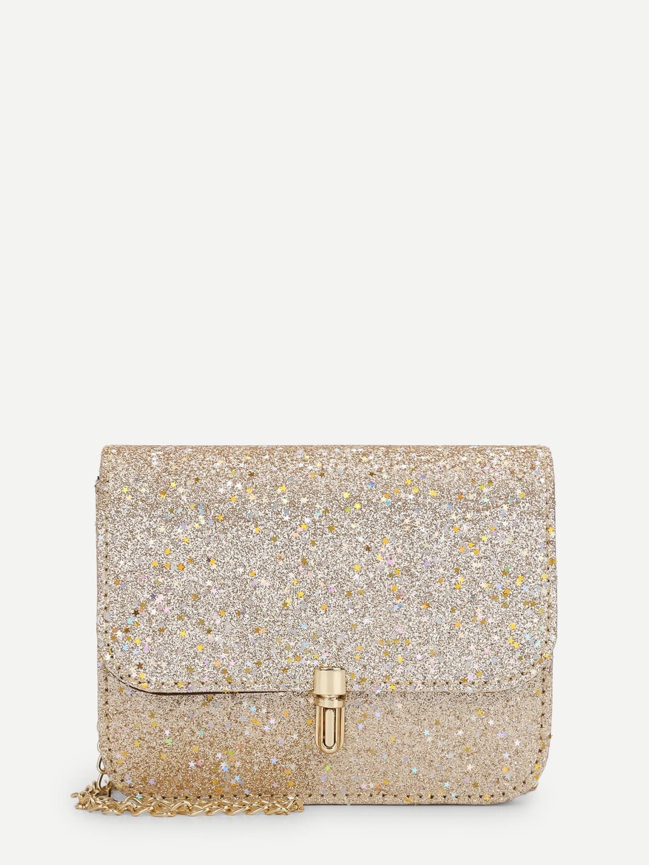 Glitter Star Design Flap Chain Crossbody Bag star detail glitter crossbody bag