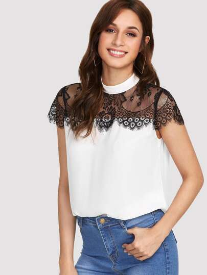 Lace Yoke Keyhole Back Top