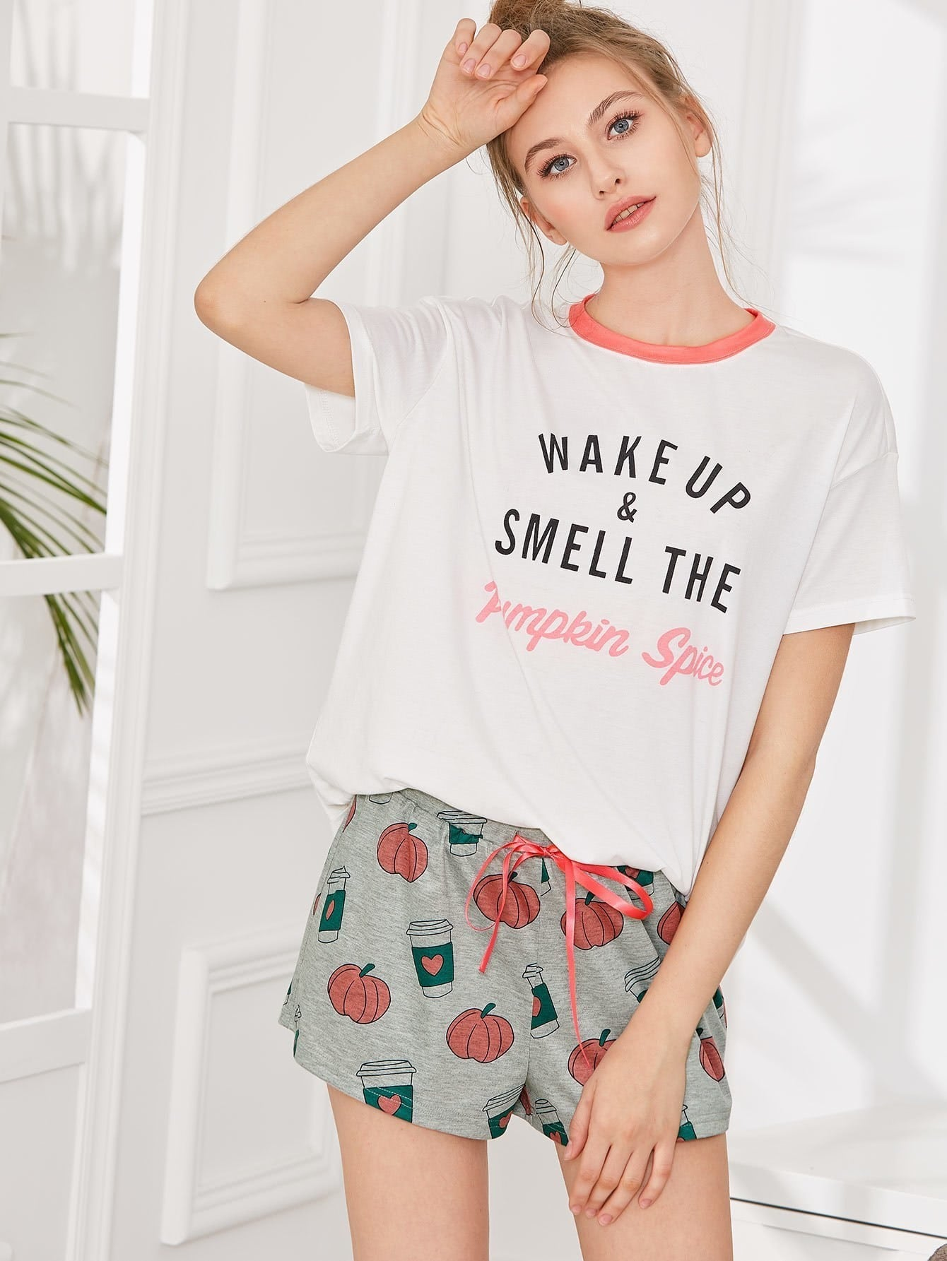 Letter Print Top And Drawstring Waist Shorts PJ Set rolled up sleeve top and leopard print shorts pj set
