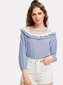 Organza Insert Ruffle Trim Vertical Striped Blouse