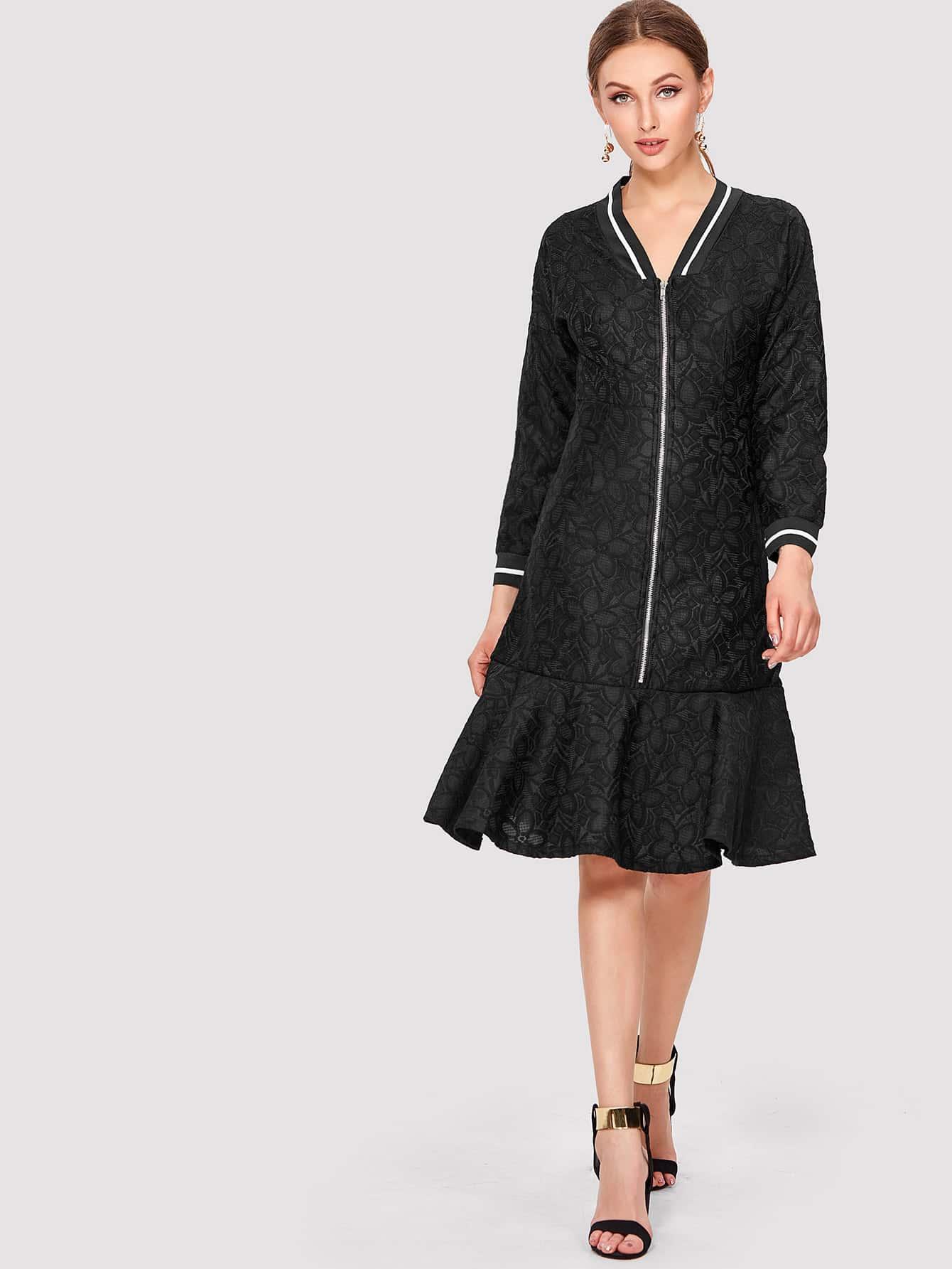 Zip Front Ruffle Hem Dress zip front tank dress