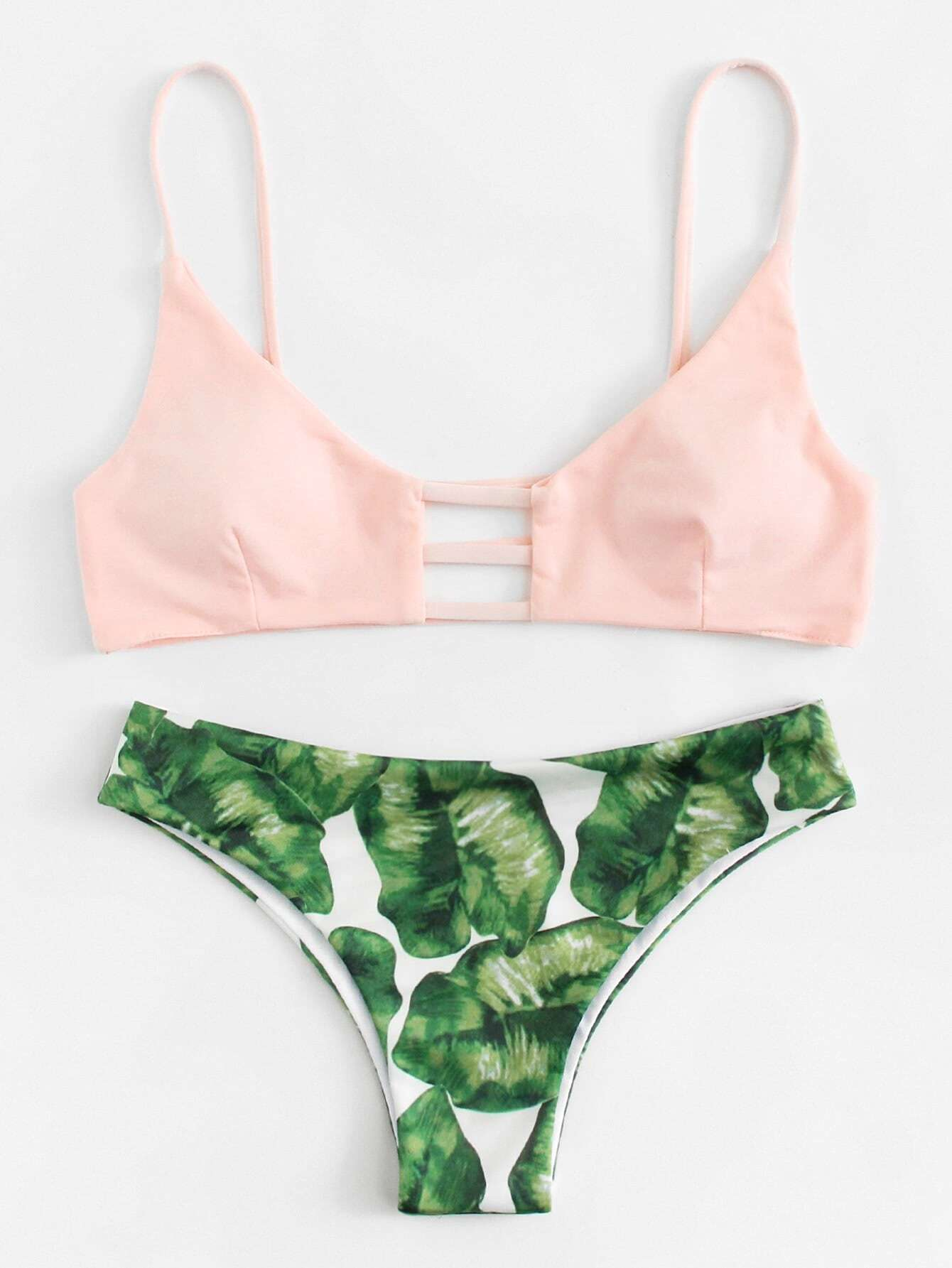 8c50cdfe588b9 Shoptagr | Mix And Match Palm Print Bikini Set by Romwe