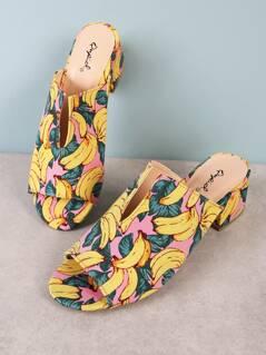 Banana Print Peep Toe Mule Heel with V Cut Detail PINK MULTI