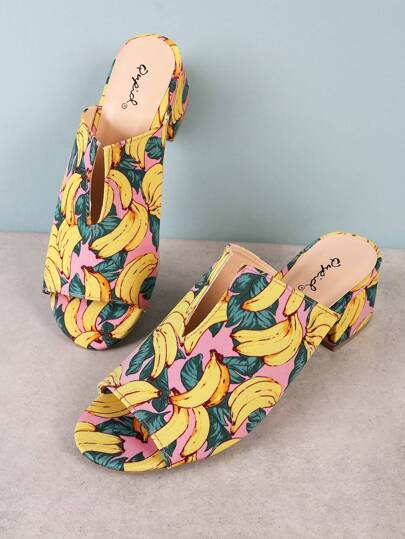 Banana Print Peep Toe Mule Heel with V Cut Detail PINK MULTI