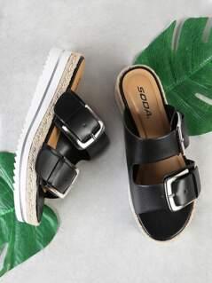 Espadrille Trim Double Buckle Footbed Flatform Sandal BLACK