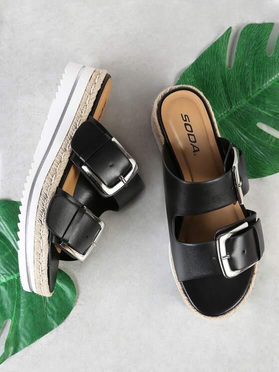 0c39edf65ef2 Espadrille Trim Double Buckle Footbed Flatform Sandal BLACK ...