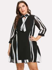 Abstract Stripe Pattern Dress