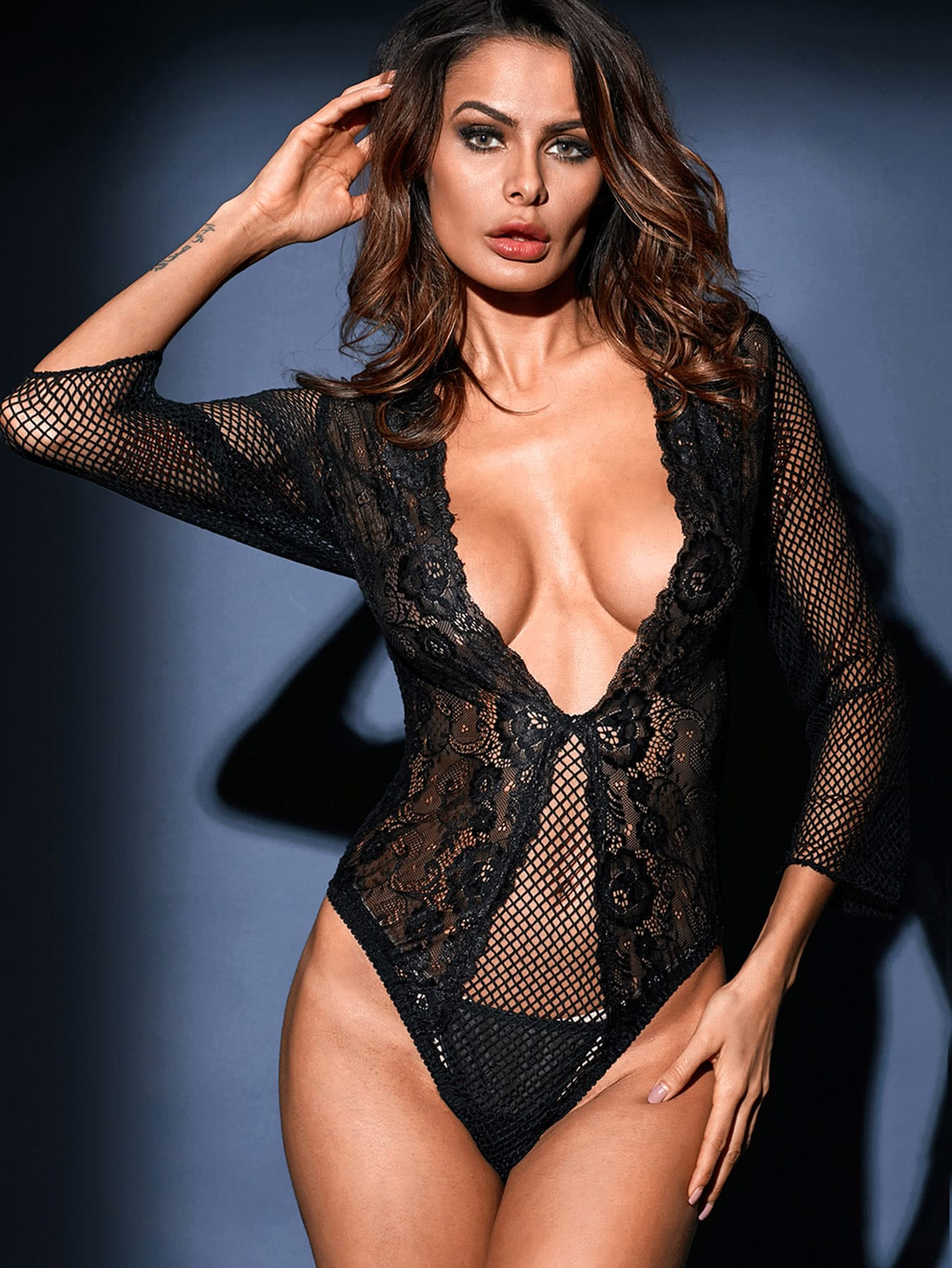 V Plunge Lace & Fishnet Teddy pink lace detail cut out v neck see through fishnet teddy