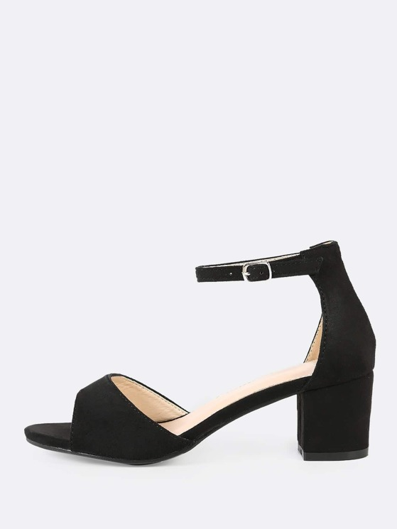 1374ae70ad Faux Suede Peep Toe Ankle Strap Low Chunky Heel BLACK   MakeMeChic.COM