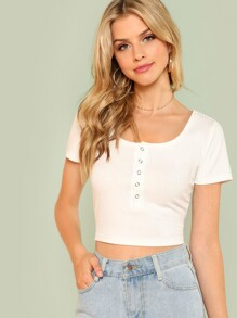 Half Placket Rib Knit Crop Tee