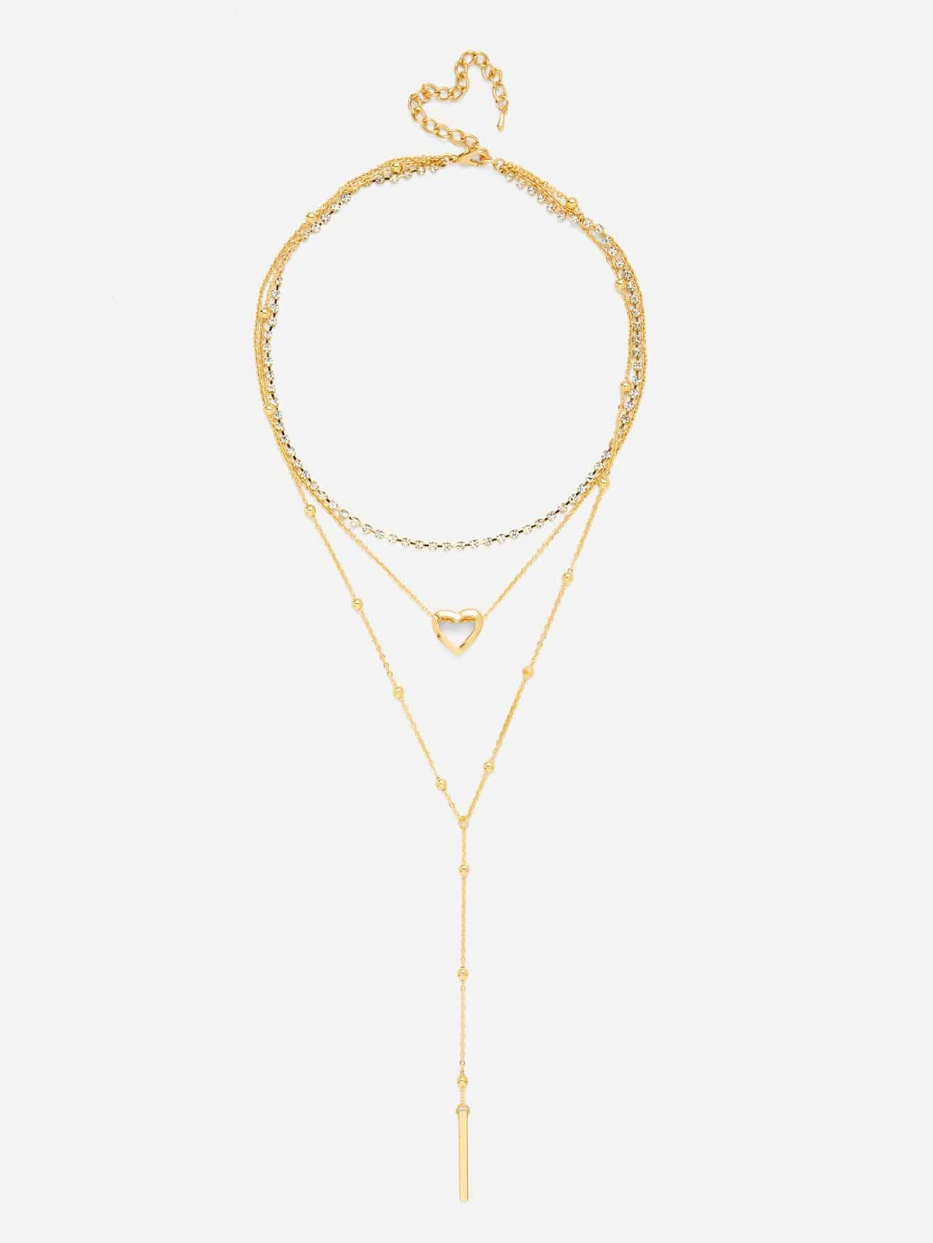 Heart & Bar Pendant Chain Layered Necklace heart pendant beaded layered necklace