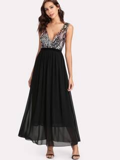 Contrast Sequin Bodice Dress