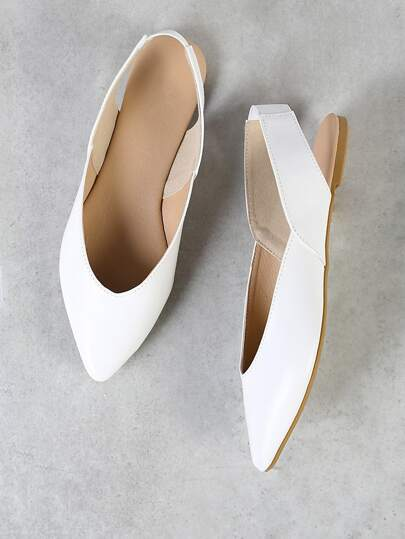 Pointy Toe Sling Back Flat WHITE