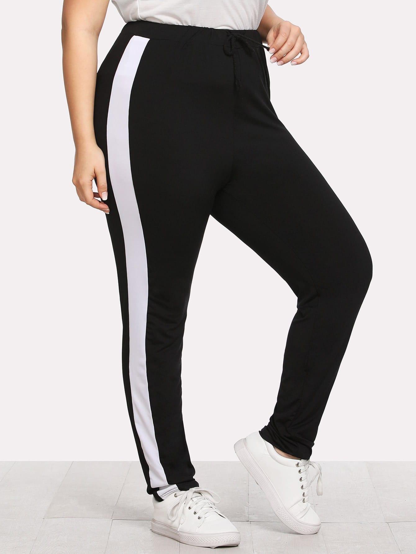 Plus Contrast Panel Side Pants