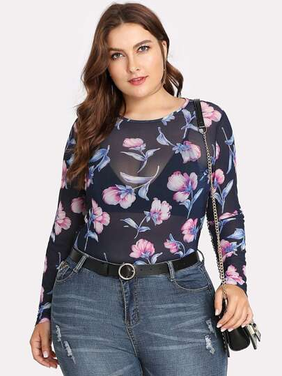 Flower Print Slim Fitted Mesh Top