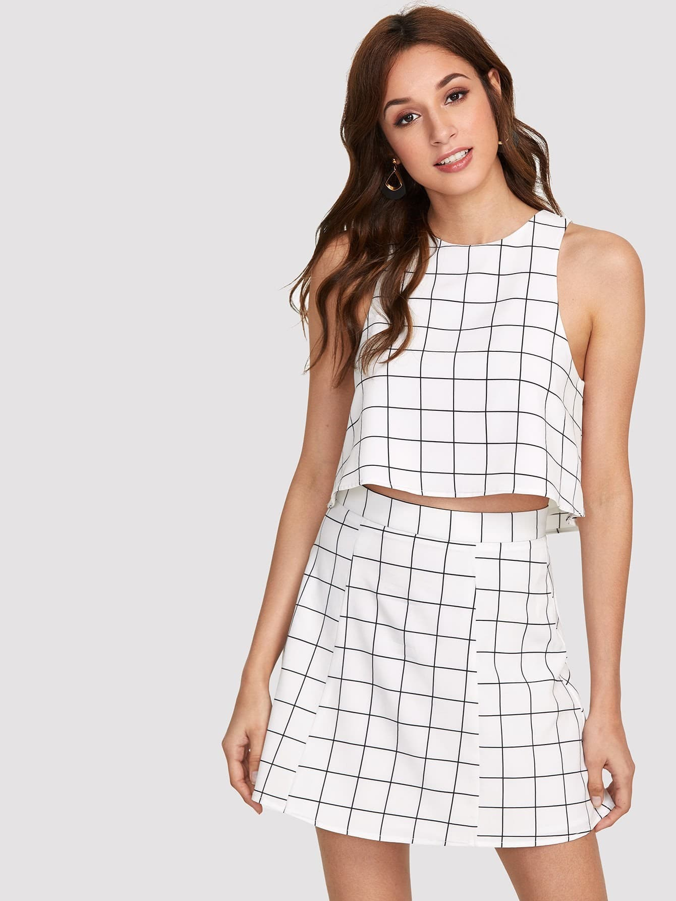 Keyhole Back Grid Crop Top And Zip Up Skirt Set zip up back knot plaid top