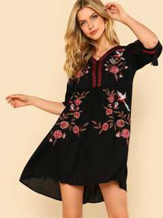 Floral Embroidered Tassel Tie Cuff Asymmetrical Dress